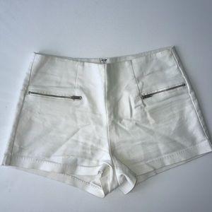 BERSHKA white shorts with zip detail